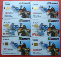 Serie 83,84,85,86,102,103-0,1,2,3,6 Italian Army Kosovo Chip CARD 10 Euro TELECOM ITALIA *Tank, Soldiers, Satellite* - Kosovo