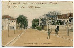 CPA 1909 Couleur Toilée - SAINT JEAN D'ANGELY Le Boulevard Lair ( Animée 2 Hommes ) Ecrite Voyagé - Saint-Jean-d'Angely