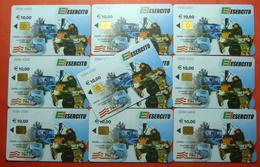 Serie 0084-6 Italian Army In Kosovo Lot 10 Chip CARD 10 Euro Used Operator TELECOM ITALIA *Tank, Soldiers, Satellite* - Kosovo