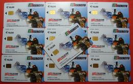 Serie 00085-3 Italian Army In Kosovo Lot 10 Chip CARD 10 Euro Used Operator TELECOM ITALIA *Tank, Soldiers, Satellite* - Kosovo