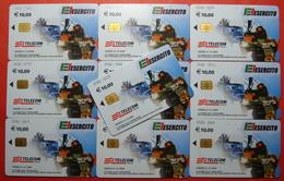 Serie 00086-1 Italian Army In Kosovo Lot 10 Chip CARD 10 Euro Used Operator TELECOM ITALIA *Tank, Soldiers, Satellite* - Kosovo