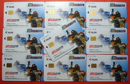 Serie 00102-1,5 Italian Army In Kosovo Lot 10 Chip CARD 10 Euro Used Operator TELECOM ITALIA *Tank, Soldiers, Satellite* - Kosovo