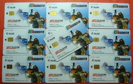 Serie 00103-0,2,6 Italian Army In Kosovo Lot 10 Chip CARD 10 Euro Used Operator TELECOM ITALIA *Tank Soldiers Satellite* - Kosovo