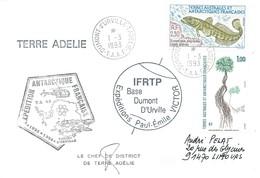 TAAF - Dumont D'Urville-T.Adélie: Lettre Avec Timbres N°164 Flore Et N°166 Légine Australe - 01/03/1993 - Lettres & Documents