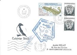 TAAF - Dumont D'Urville-T.Adélie: Lettre Avec Timbres N°163 Armoiries Et N°166 Légine Australe - 03/03/1993 - French Southern And Antarctic Territories (TAAF)