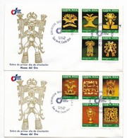 COSTA RICA 1986, FDC GOLD MUSEUM ART ARCHAEOLOGY SET OF 10 ON 2 FIRST DAY COVER - Costa Rica