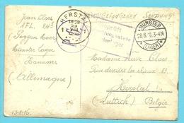 """Foto-kaart """" Krijgsgevangenen / Camp"""" Verzonden Van MUNSTER Naar HERSTAL (Liege) - Weltkrieg 1914-18"""