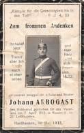 Guerre 1914-Militaire Allemand-Soldat Casque Pointe Johann ARBOGAST Faire Part Décès Mort Mai 1915 Attention VOIR ETAT - Décès