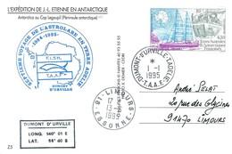 TAAF - Dumont D'Urville-T.Adélie: Carte Postale Avec Timbre N°134 Mission Erebus - 01/01/1995 - Lettres & Documents