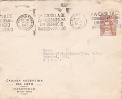 1943 COMMERCIAL COVER- CAMARA ARGENTINA DEL LIBRO. CIRCULEE BUENOS AIRES ARGENTINE. BANDELETA PARLA- BLEUP - Argentine