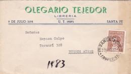1943 COMMERCIAL COVER- OLEGARIO TEJEDOR LIBRERIA. CIRCULEE SANTA FE TO BUENOS AIRES, ARGENTINE.- BLEUP - Argentine