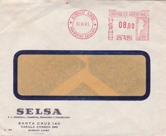 1965 COMMERCIAL COVER- SELSA. CIRCULEE BUENOS AIRES, ARGENTINE. FRANKING MACHINE- BLEUP - Argentinië