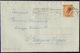 ITALIA - BIGLIETTO  POSTALE 30 L - 1961 - 6. 1946-.. Repubblica