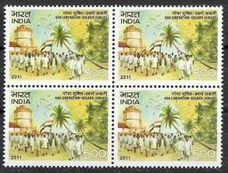 141. India 2011 Stamp Goa Liberation- Golden Jubilee  Block Of 4. Mnh - Blocchi & Foglietti