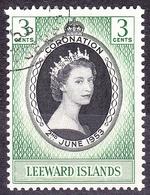 LEEWARD ISLANDS 1953 3c Black & Green Coronation SG125 FU - Leeward  Islands