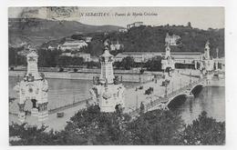 (RECTO / VERSO) SAN SEBASTIAN EN 1911 - PUENTE DE MARIA CRISTINA - BEAUX TIMBRES ET CACHET - CPA VOYAGEE - Guipúzcoa (San Sebastián)
