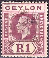 CEYLON 1913 KGV 1 Rupee Purple/White SG315a Used - Ceylon (...-1947)