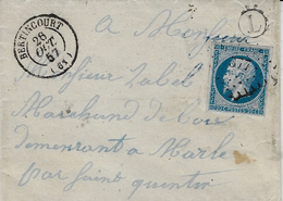 1857- Lettre De BERTINCOURT ( Pas De Calais ) Affr. N°14 Oblit. P C 377 + L Boite Rurale Non Identifiée - Storia Postale