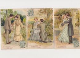 3 Cartes Fantaisie Gaufrées / Couple /Rencontre , Déclaration , Baiser - Paare
