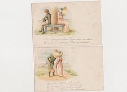 3 Cartes Fantaisie  / Couple ; Grand Chapeau - Paare