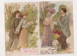4 Cartes Fantaisie Gaufrées  / Couple D'amoureux , En Promenade , Dans Un Salon - Paare