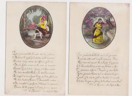 4 Cartes Fantaisie   / Couple D'amoureux / Poème D'A.de Musset , La Nuit De Mai ; La Nuit D'août - Paare