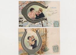 2 Cartes Fantaisie   / Couple D'amoureux / Fer à Cheval - Couples