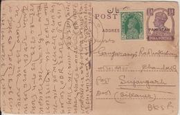 Pakistan  Dec 1948  KG VI 1/2A O/p Postcard + 3P Un-Overprinted Stamp  CHOUDHURANI To India  # 93032  Inde Indien - Pakistan