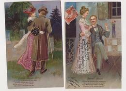 2 Cartes Fantaisie Gaufrées  / Couple D'amoureux / Douces Choses - Couples