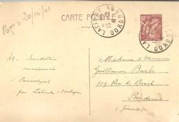 CARTE POSTAL POSTALE  LALINDE 1941 - Enteros Postales