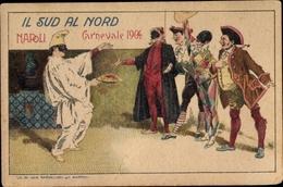 Cp Napoli Neapel Campania, Carnevale 1904, Karneval, Kostüme, Spaghetti Napoli, Harlekin - Italy