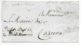 DEPARTEMENT CONQUIS : 113 MEDITERRANEE - LETTRE SC De LIVOURNE Avec MARQUE De FRANCHISE Du PREFET ! => CASCINA - 1792-1815: Conquered Departments