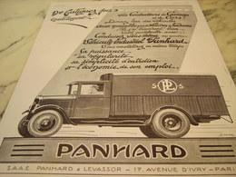 ANCIENNE   PUBLICITE CAMION PANHARD 1929 - Trucks
