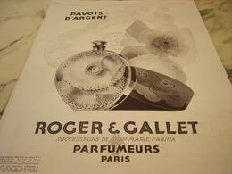 ANCIENNE PUBLICITE PARFUM PAVOTS D ARGENT  DE ROGER GALLET  1929 - Perfume & Beauty