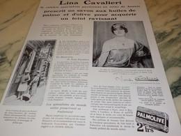 ANCIENNE PUBLICITE SAVON PALMOLIVE  LINA CAVALIERI 1929 - Perfume & Beauty