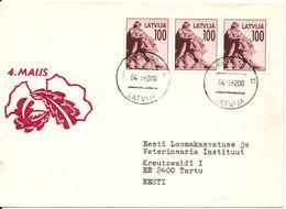 Latvia Cover Riga 4-5-1992 With 4 Maijs Cachet Sent To Eesti - Latvia