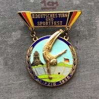 Badge Pin ZN008560 - Gymnastics Germany DDR Leipzig 1956 (Deutsches Turn- Und Sportfest) - Gymnastics