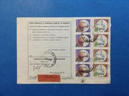 CASTELLO 500 STRISCIA DI 4 + 700 STRISCIA DI 4 SU BOLLETTINO PACCHI DEL 1990 - 6. 1946-.. Repubblica