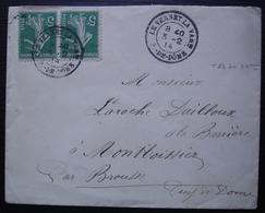 Le Vernet La Varenne (Puy De Dôme) 1914 Joli Cachet Sur Paire Semeuse 5 Centimes Pour Montboissier Par Brousse - Poststempel (Briefe)