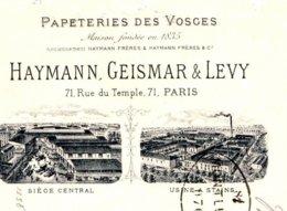 HAYMANN, GEISMAR & LEVY  Papeteries Des Vosges   PARIS  Belle Illustration    1902   Usine à Stains - Lettres De Change