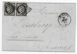 1850 - VAUCLUSE -  PAIRE CERES 20c Sur LETTRE De AVIGNON Avec GRILLE + T15 => POSTE RESTANTE De RENNES (ILLE ET VILAINE) - 1849-1876: Periodo Classico