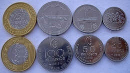 ISOLE COMORRE COMORES SERIE 4 MONETE 2013 CON BIMETALLICA 250-100-50-25 FRANCS FDC UNC. - Comorre