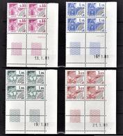 FRANCE  1981 / 1987 - SERIE 4 BLOCS DE 4 PREO NEUFS** / Y.T. N° 170 A 173 - COIN DE FEUILLE / DATE - Vorausentwertungen