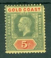 Gold Coast: 1913/21   KGV   SG82b    5/-    Green & Red/yellow   [White Back] [Die I]   MH - Gold Coast (...-1957)
