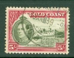 Gold Coast: 1938/43   KGVI   SG131a    5/-   [Perf: 11.8 X 12]    Used - Gold Coast (...-1957)