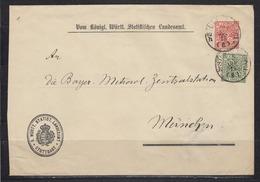 Württemberg Behördenganzsache F. Statistisches Landesamt DUB 36B(IIIa) ZuF Stuttgart 9.Jul.19 Nach München (250.-) - Wuerttemberg