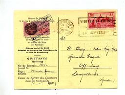 Carte Flamme Strasbourg Foire Sur Velay + Timbre Fiscal  Service Cimetiere - Marcophilie (Lettres)