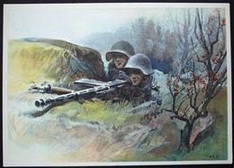 MILITÄR Soldaten Leichtes Maschinengewehr In Stellung Signiert Künstler J.E. Hugentobler - Suisse