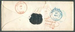 ENveloppe Avec Contenu De VERSAILLES Le 14/3/1844 Vers  Tournay (biffé), Griffe Ovale Rouge DEBOURSE TOURNAY Et Suivi Ve - 1830-1849 (Unabhängiges Belgien)