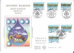 France FDC - Accord Ramoge Saint Raphaël Monaco Gènes - Grand Format - 1996 - FDC
